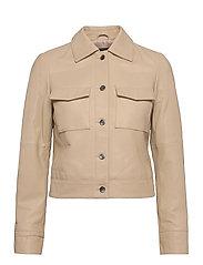 Lynn Pocket Leather Jacket - SAND