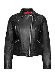 Kaley Leather Biker - BLACK
