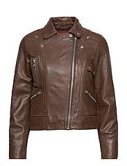 Kaley Leather Biker - BROWNIE