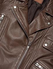 Jofama - Kaley Leather Biker - skinnjackor - brownie - 2
