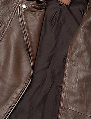 Jofama - Kaley Leather Biker - skinnjackor - brownie - 4
