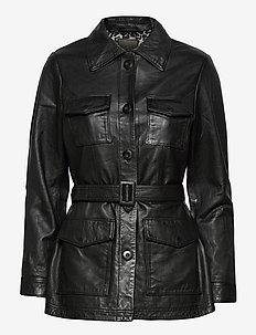 Michelle Midi Leather Jacket - læderjakker - black