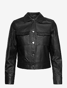 Lynn Pocket Leather Jacket - skinnjackor - black