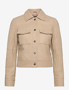 Lynn Pocket Leather Jacket - skinnjackor - sand