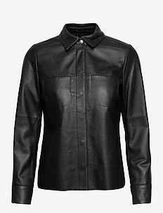 Anne Leather Shirt Jacket - skinnjackor - black