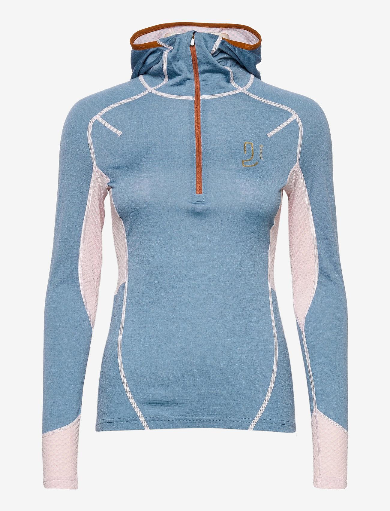 Johaug - Lithe Tech-Wool Hood - base layer tops - blues - 0