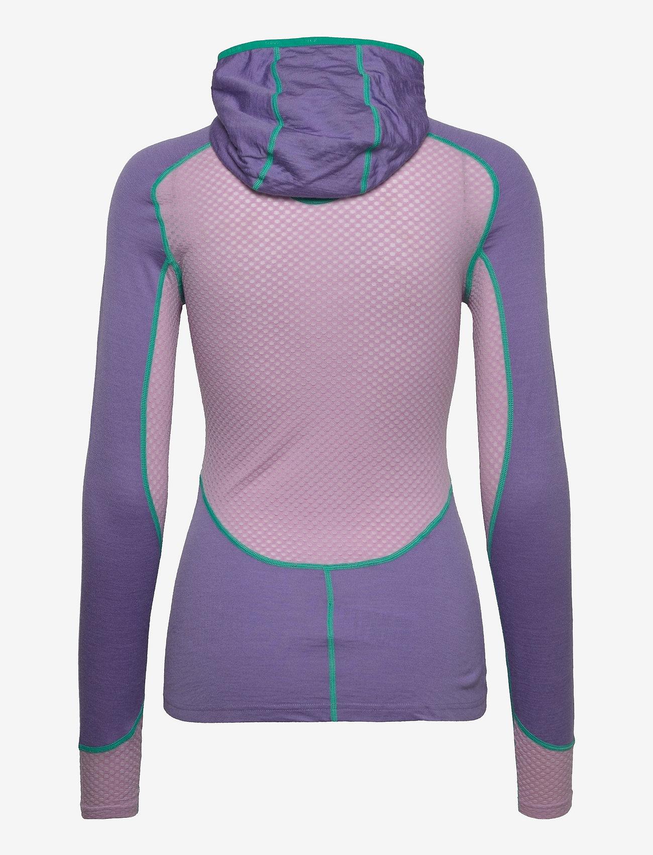 Johaug - Lithe Tech-Wool Hood - underställströjor - purpl - 1