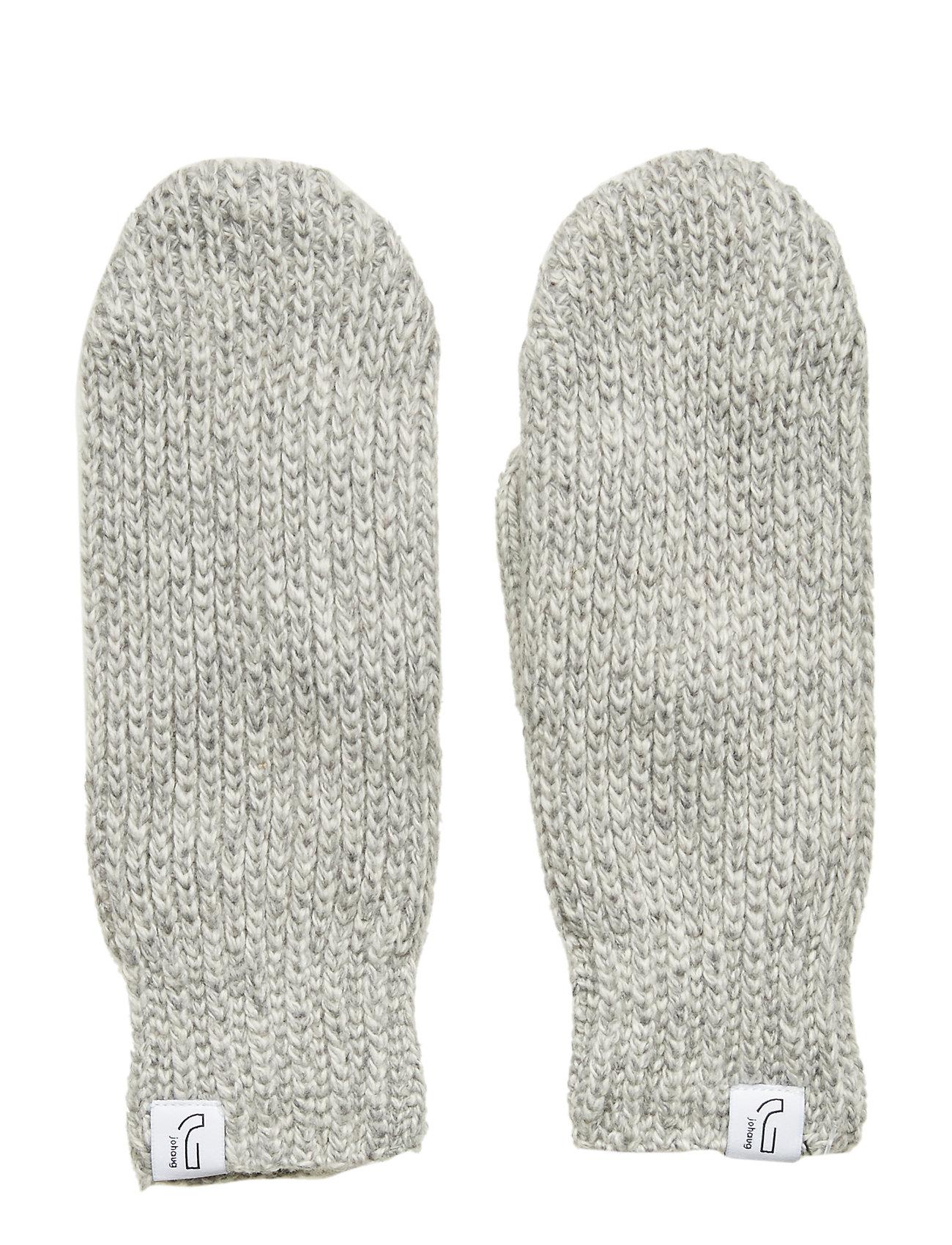 Image of Knitted Rib Mitten Handsker Grå Johaug (3484435445)