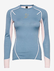 Johaug - Lithe Tech-Wool Long Sleeve - thermo ondershirts - blues - 0