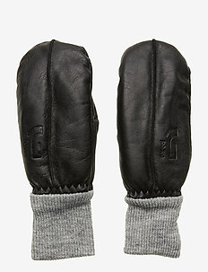 LEATHER MITTEN - BLACK