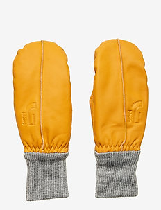 LEATHER MITTEN - OCHER