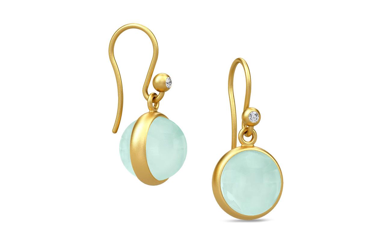 Julie Sandlau Prime Earring - Gold/Peony Chalcedony - GREEN