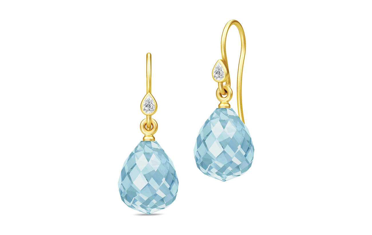 Julie Sandlau Droplet Earrings - Gold/Blue - BLUE