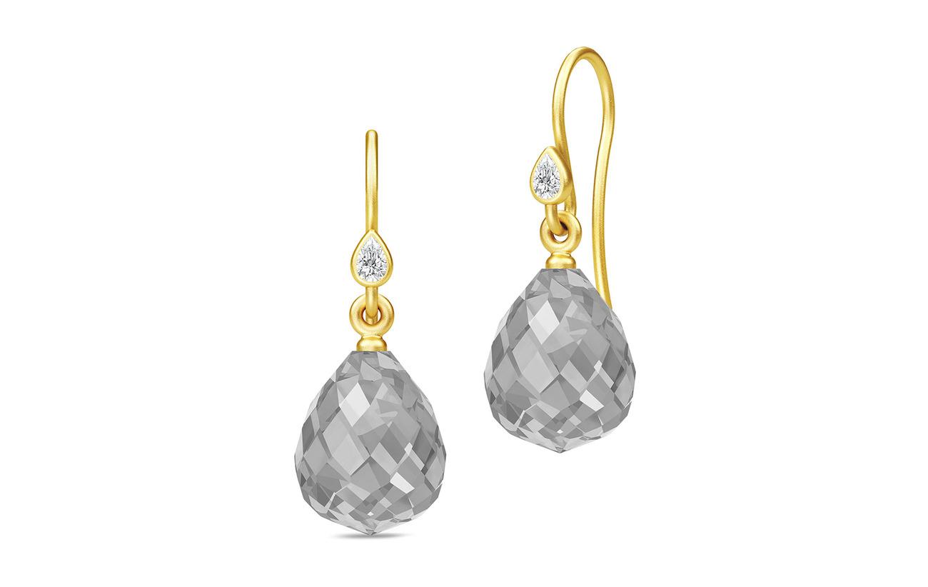 Julie Sandlau Droplet Earrings - Gold/Grey - GREY