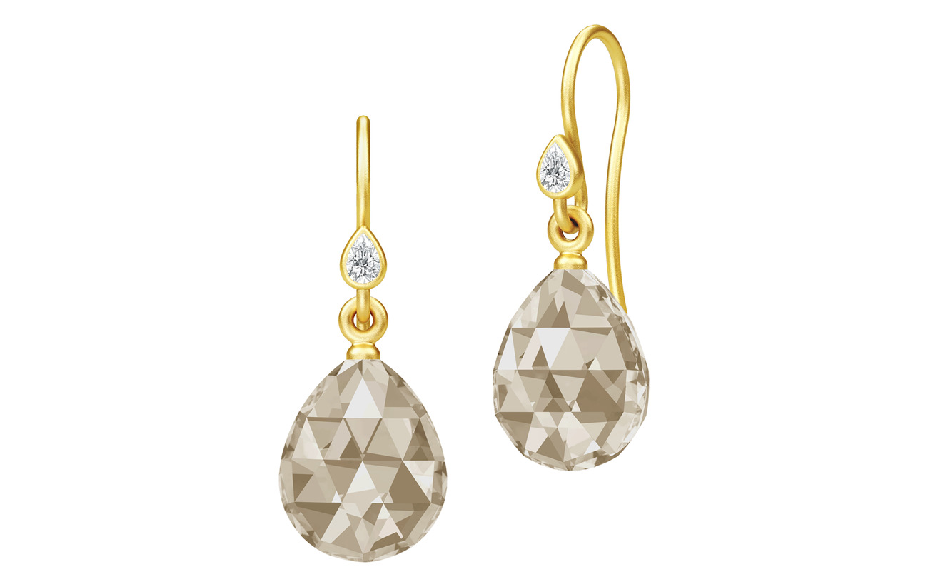 Julie Sandlau Ballerina Earrings - Gold/Smokey - BROWN
