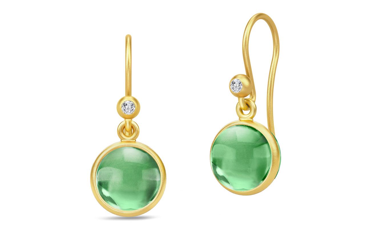 Julie Sandlau Primini Earrings - Gold/Green - GREEN