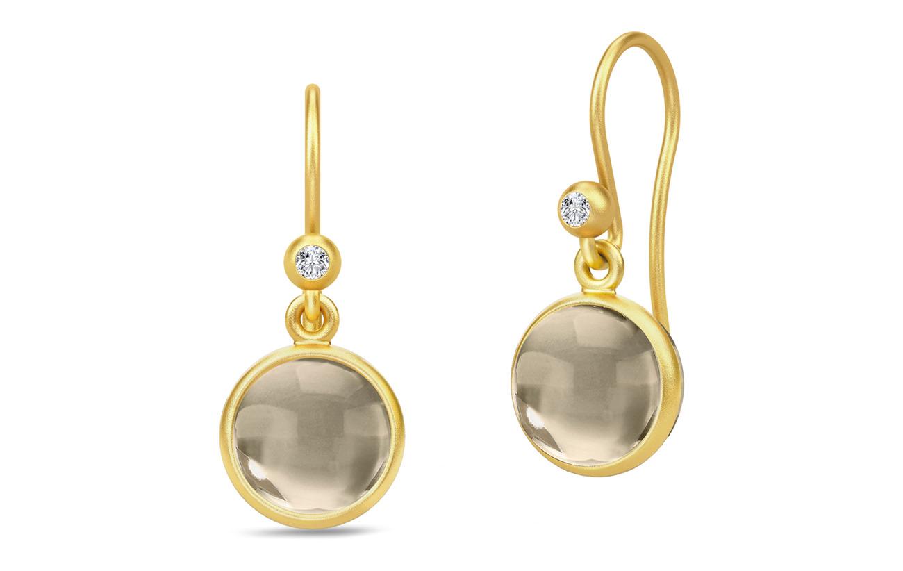 Julie Sandlau Primini Earrings - Gold/Smokey - BROWN