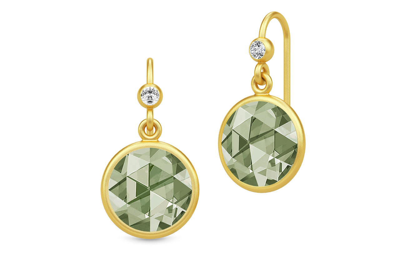 Julie Sandlau Cocktail Earrings - Gold/Dusty Green - GOLD / DUSTY GREEN