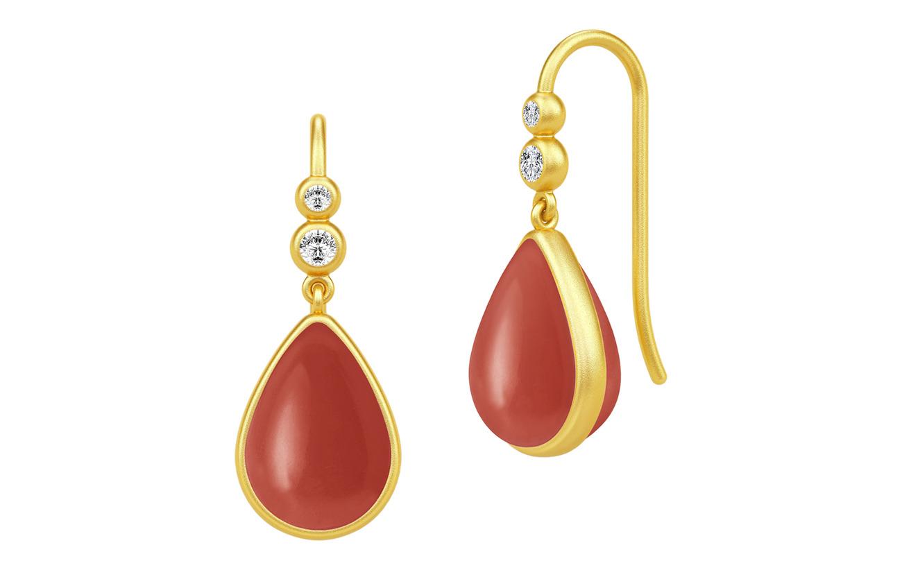 Julie Sandlau Poetry Earrings ‐ guld röd Smycken