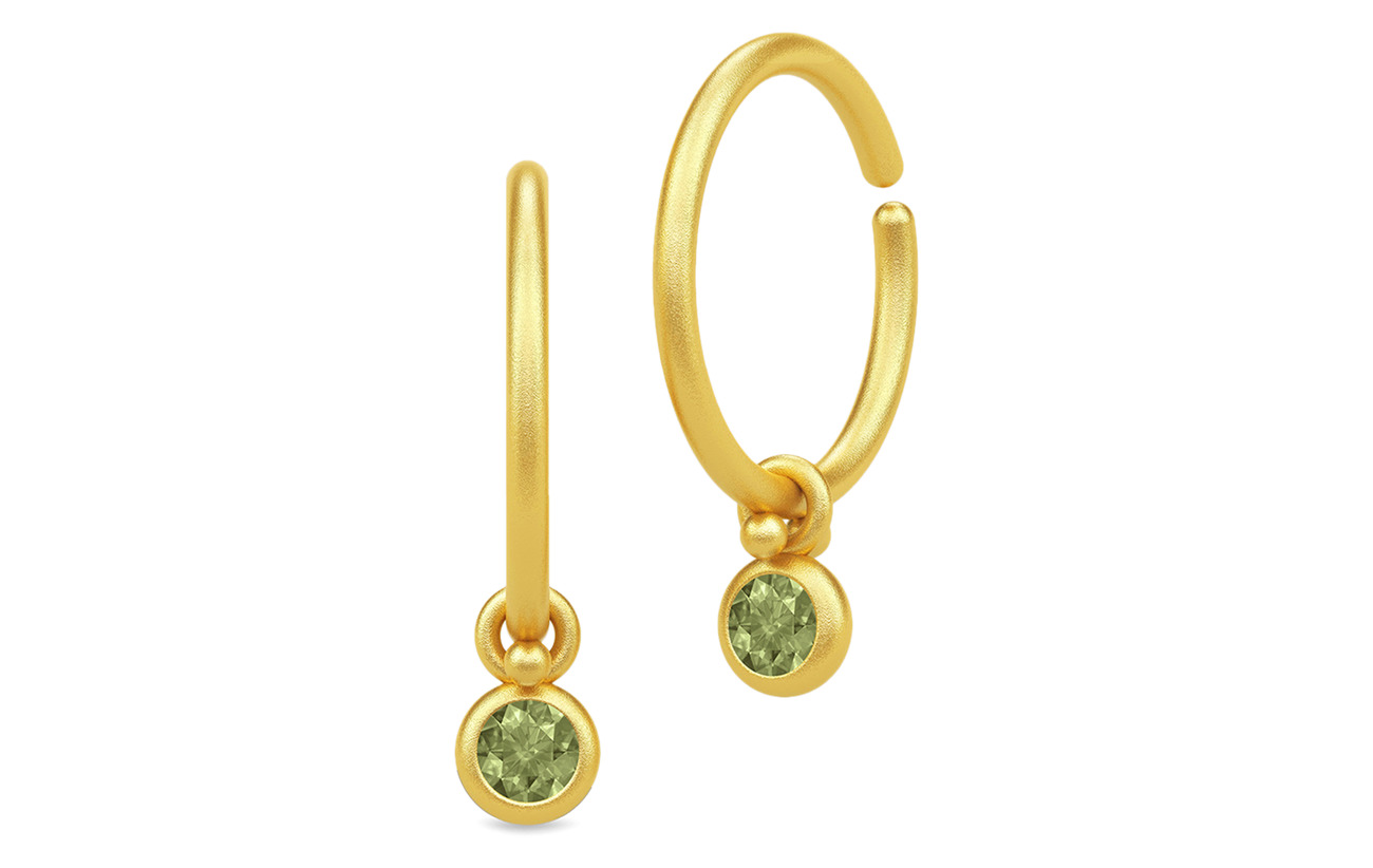 Julie Sandlau Finesse Minihoops - Gold/Green Tourmaline - GOLD / GREEN TOURMALINE