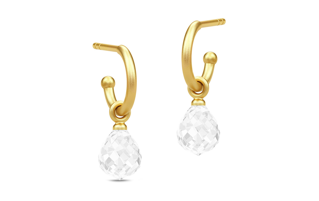 Julie Sandlau Evening Dew Mini Hoops - Gold/Clear - WHITE