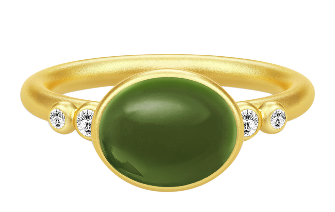Julie Sandlau Poetry Ring 54 ‐ guld grön Smycken