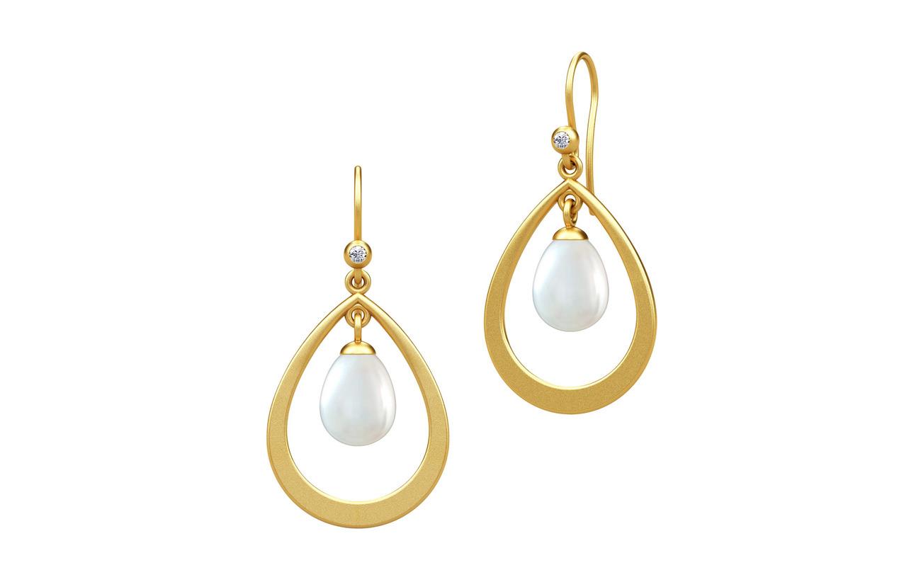 Julie Sandlau Afrodite droplet earring - Gold - PEARL WHITE