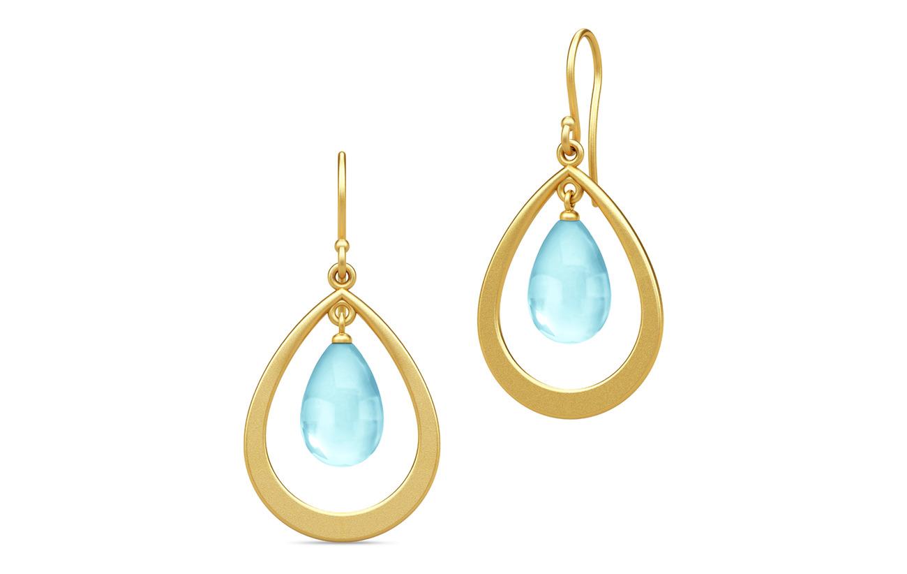 Julie Sandlau Prime Droplet Earrings - Gold/Sky Blue - BLUE