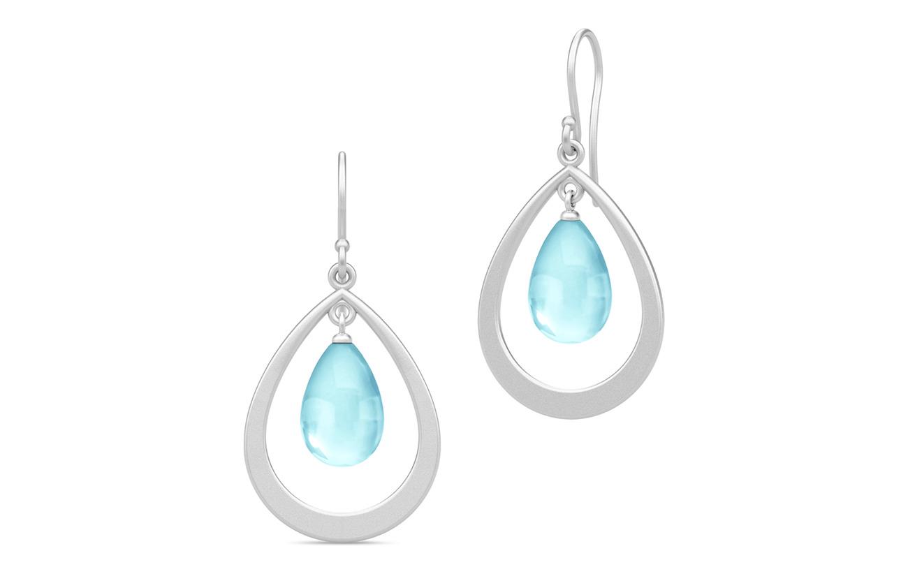 Julie Sandlau Prime Droplet Earrings - Rhodium/Sky Blu - BLUE