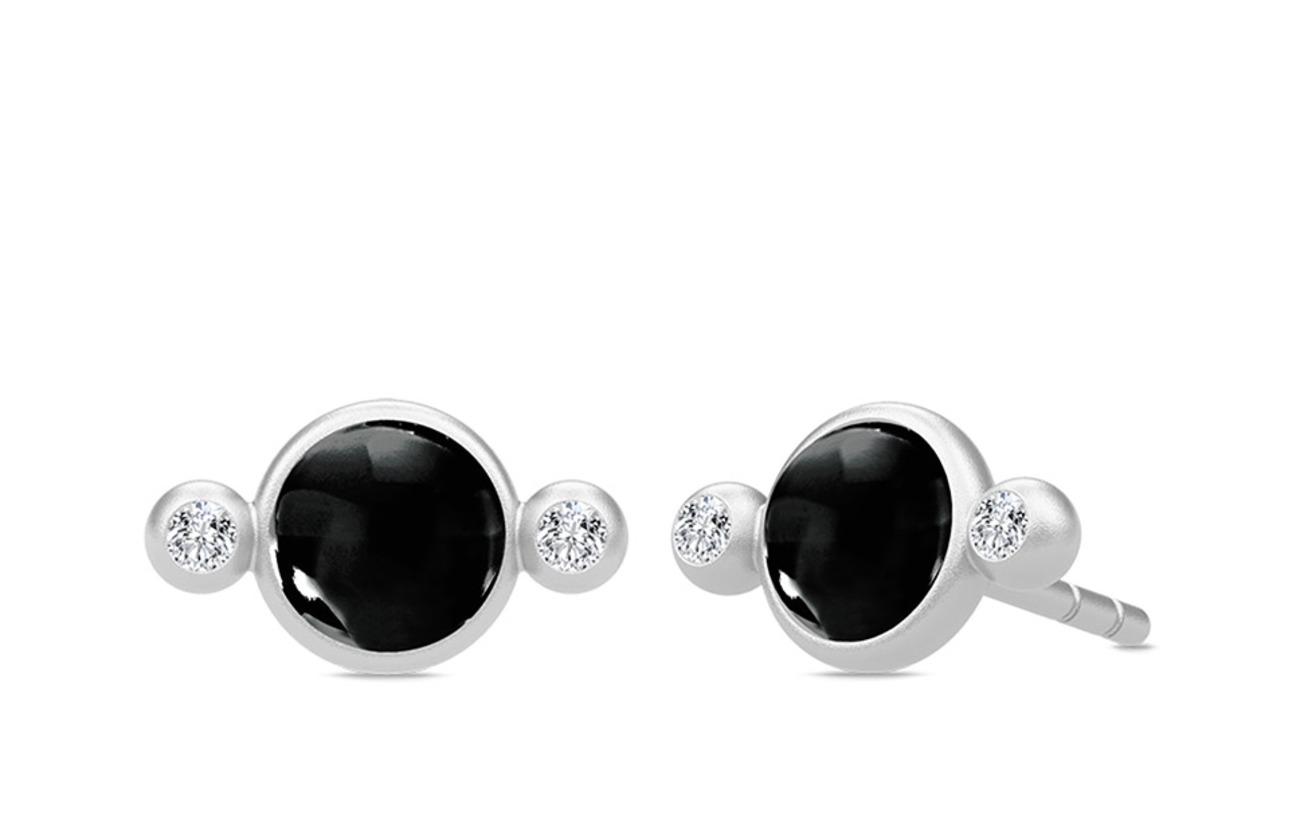 Julie Sandlau Prime Petite Earstuds - Rhodium/Black - BLACK