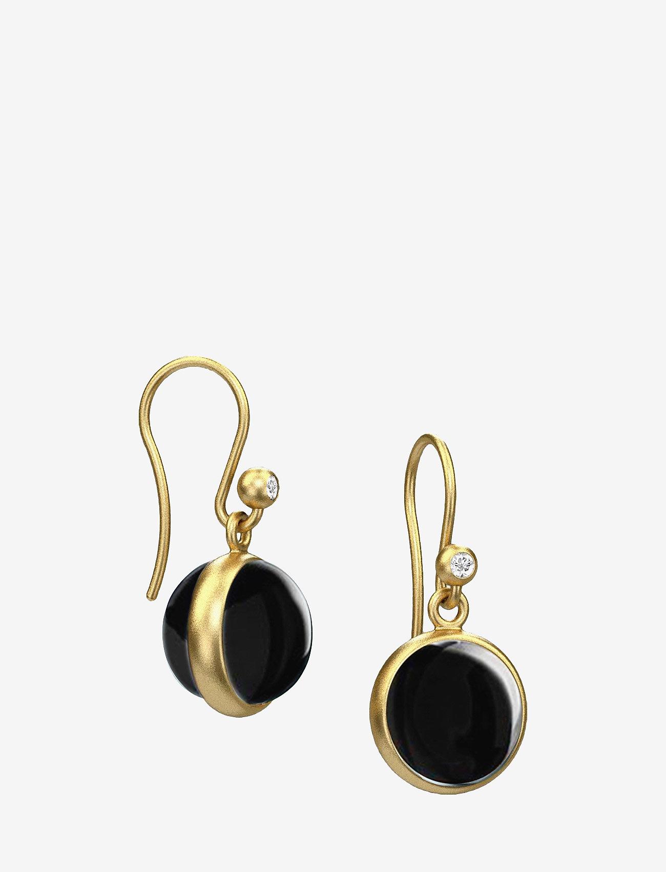 Julie Sandlau - Prime Earring - Gold/Black Onyx - hängande örhängen - black - 0