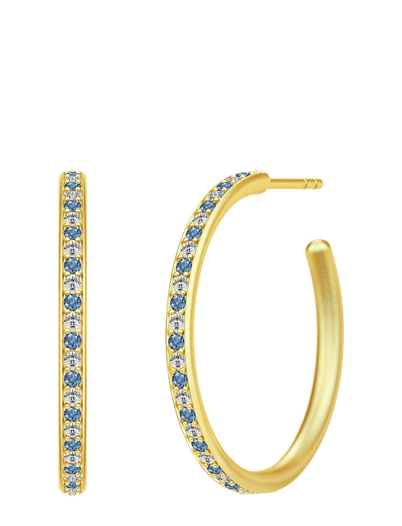Image of Infinity Medium Hoops - Gold/Blue Accessories Jewellery Earrings Hoops Guld Julie Sandlau (3286392069)
