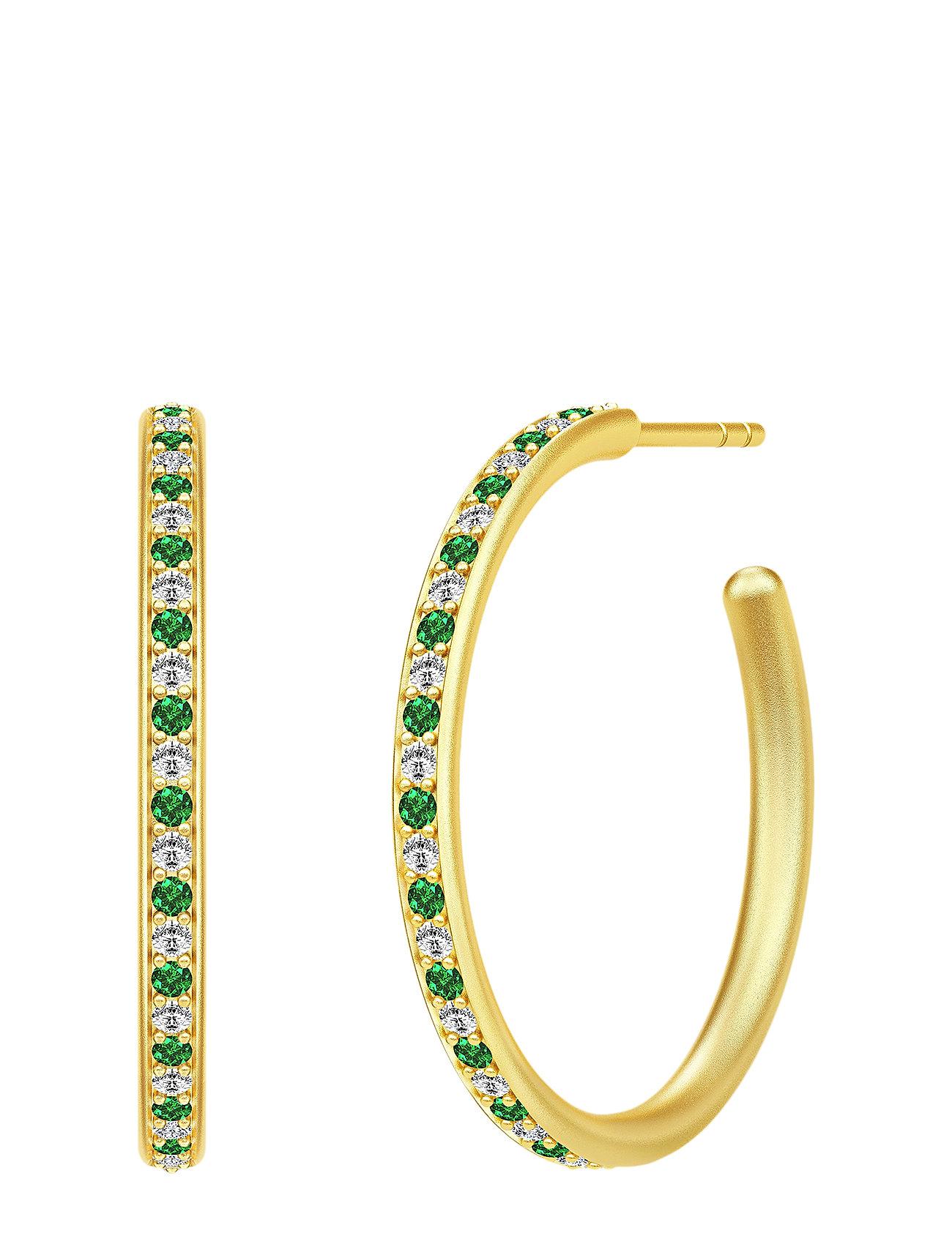 Image of Infinity Medium Hoops - Gold/Green Accessories Jewellery Earrings Hoops Guld Julie Sandlau (3286392049)