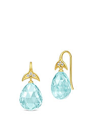 Mermaid Drop Earrings - Gold/Aquamarine - BLUE