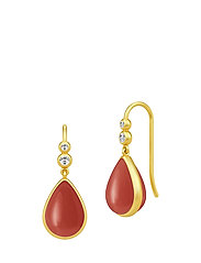 Poetry Earrings ‐ Gold/Red - GOLD / RED CORAL CRYSTAL
