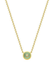 Iris Necklace - Gold/Dusty Green - GREEN
