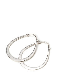 Classic pear hoop earring - Rhodium - SILVER