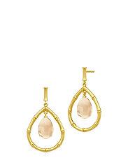 Bamboo Wisdom Droplet Earrings - Gold/Champagne - ORANGE