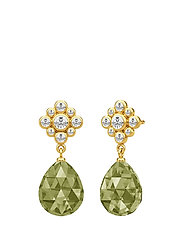 Peony Drop Earstud - Gold/Olive - GREEN