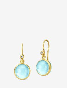Prime Earrings - Gold/Sky Blue - hängande örhängen - blue