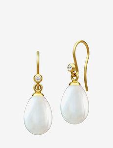 Afrodite earring  - Gold - hengende øreringer - pearl white