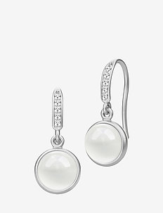Luna earring - Rhodium - pendant - milky