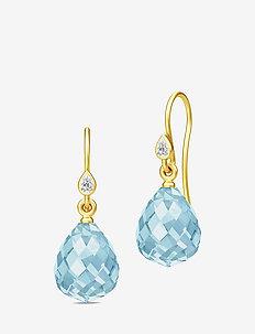 Droplet Earrings - Gold/Blue - pendant - blue