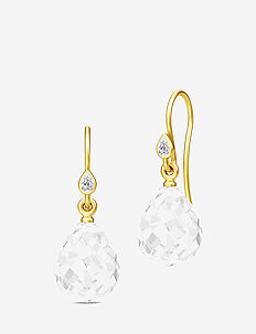 Droplet Earrings - Gold/Clear - WHITE