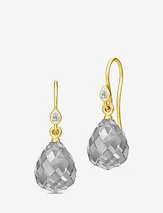 Droplet Earrings - Gold/Grey - pendant - grey