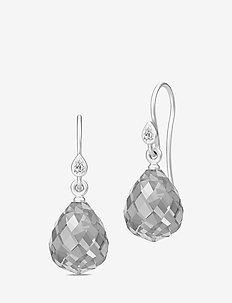 Droplet Earrings - Rhodium/Grey - GREY