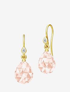 Ballerina Earrings - Gold/Morganite - pendant - red
