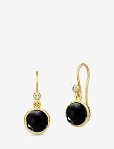 Primini Earrings - Gold/Black - pendant - black