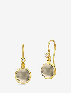 Primini Earrings - Gold/Smokey - pendant earrings - brown