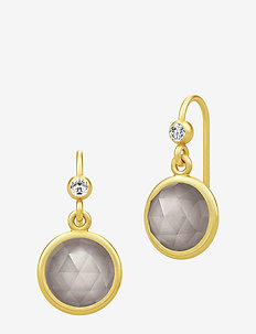 Moon Earrings ‐ Gold / Gray - gold